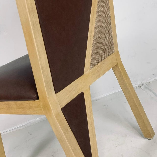 Custom Postmodern Memphis Style Blonde Wood Dining or Occasional Chairs - Set of 10 For Sale - Image 4 of 12
