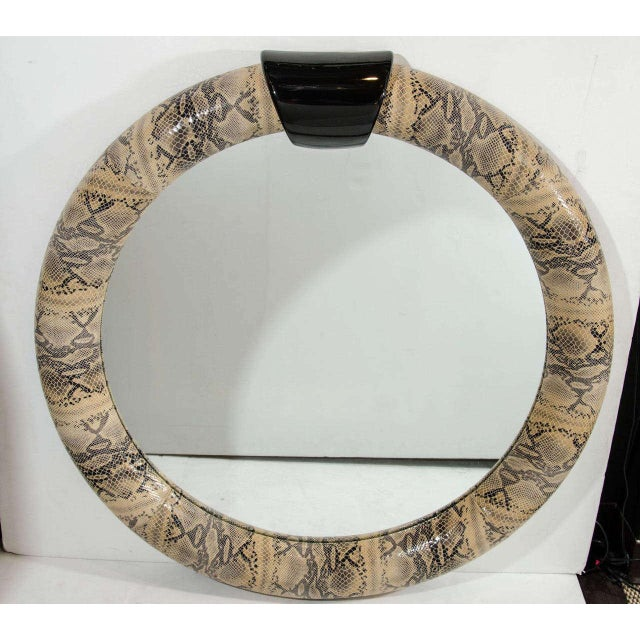 Asian Mid-Century Modern Round Mirror Wrapped in Embossed Leather For Sale - Image 3 of 10
