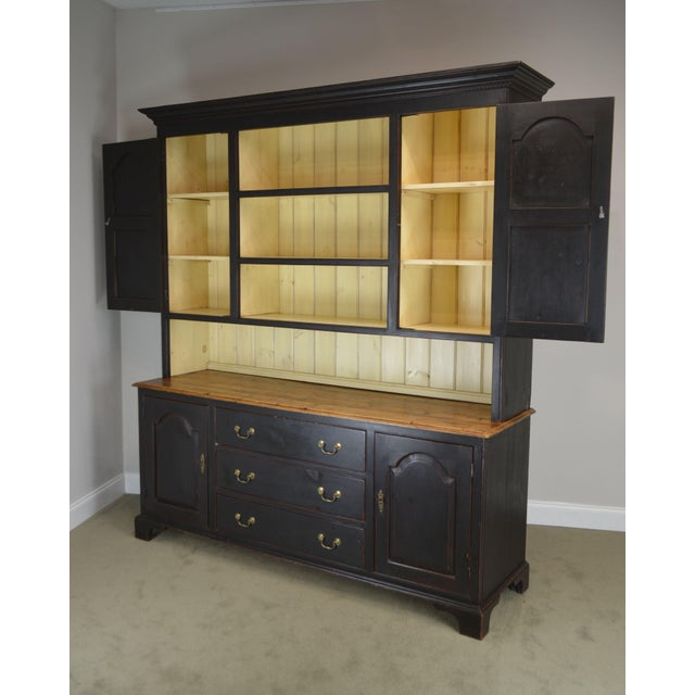 Monumental Custom Crafted Reproduction Country Painted Pine Step Back Hutch For Sale - Image 9 of 13