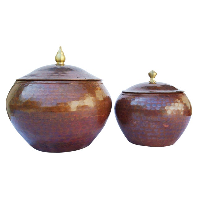 Hammered Copper Pots - A Pair For Sale