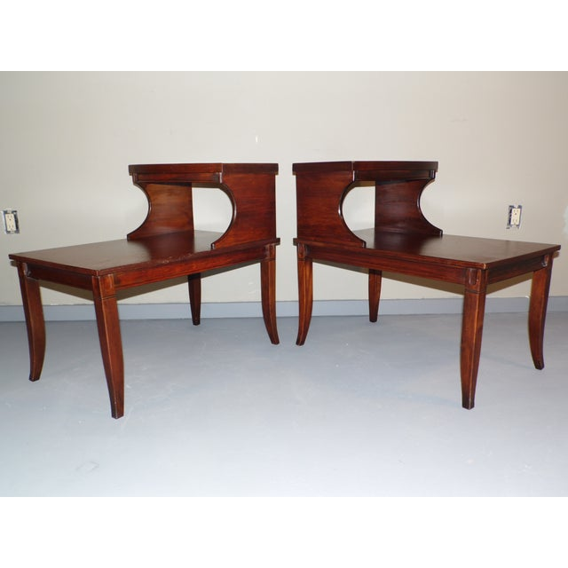 Vintage Federal Style Step Sabre End Tables - A Pair For Sale - Image 4 of 10