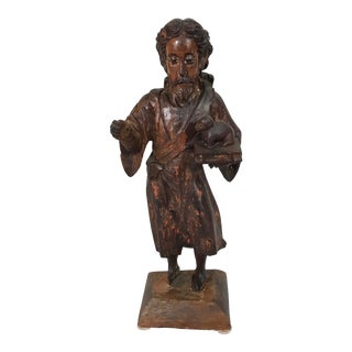 17th Century French Wooden Saint Figure For Sale