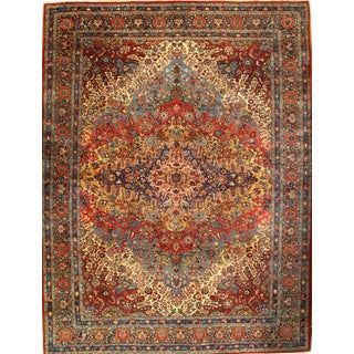 "Antique Persian Yazd Lamb's Wool Rug - 9'4"" x 12'3"" For Sale"
