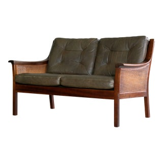 Torbjørn Afdal Settee in Olive Colored Leather and Woven Cane for Bruksbo, 1960s For Sale