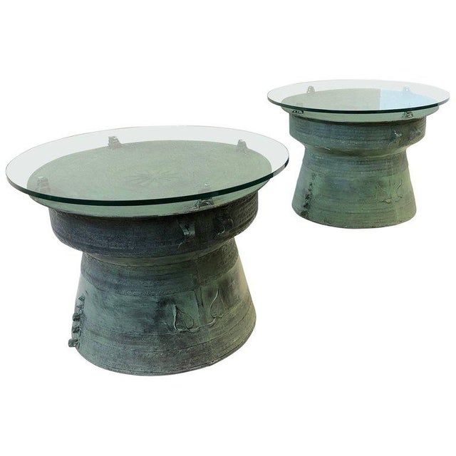 Pair of Bronze and Glass South Asian Rain Drum Tables For Sale - Image 11 of 11