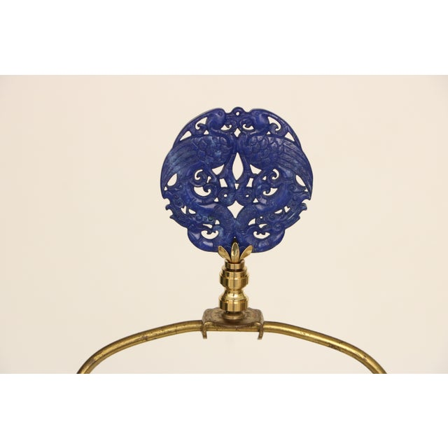 Kintsugi-Style Gold Mended Cobalt Table Lamp For Sale - Image 9 of 9