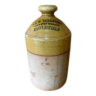 Antique S & W Berisford Macclesfield Spirit Stoneware Jug For Sale