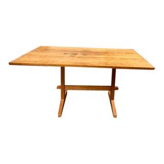 Benj. C. Brown Rustic Mortise & Tenon Trestle Farmhouse Table For Sale