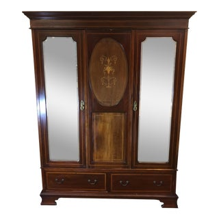 1900s Traditional Inlaid Mahogany Wardrobe