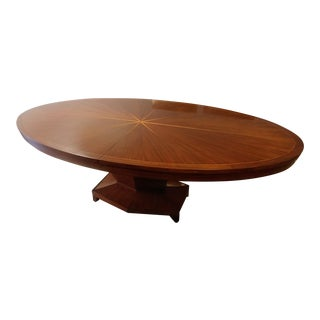 Art Deco Henredon Furniture Barbara Barry Celestial Walnut Oval Dining Table For Sale