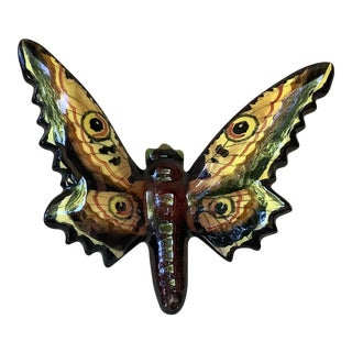 1950 Vallauris French Majolica Butterfly Applique Moth Wall Sculpture For Sale