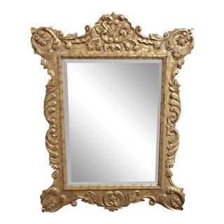 The Classique Collection Romanov Distressed Gold Decorative Hanging Wall Mirror C1990s 46 X 60 For Sale