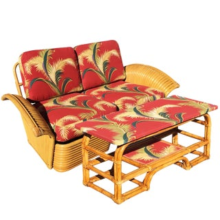 Restored Art Deco Rattan Fan Arm Loveseat & Coffee Table For Sale
