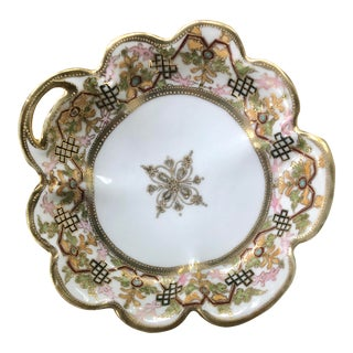 Japanese Noritake Hand Painted Art Deco Moriage Dish For Sale
