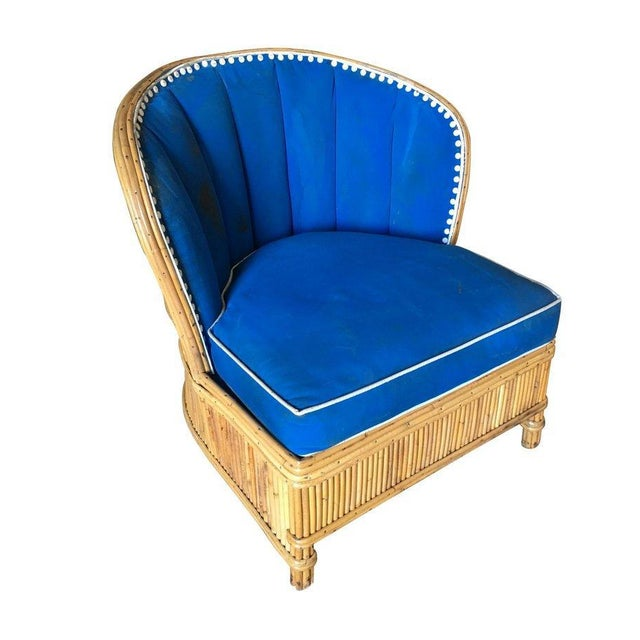 """Rare Art Deco style """"Shell Back"""" rattan lounge chairs feature the icon modernist shell seat back all made with hand..."""