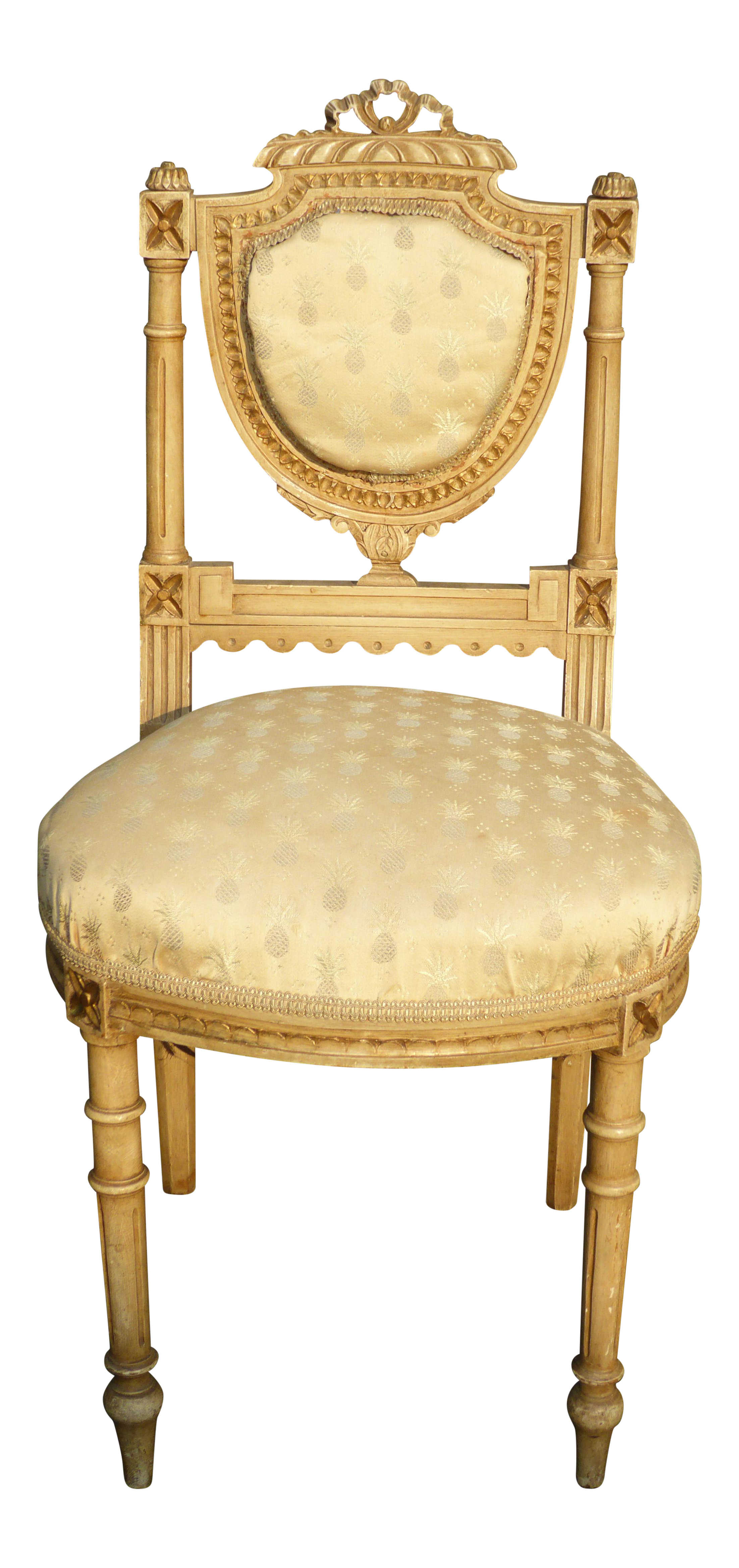 Vintage French Louis XVI Ornately Carved Wood Pineapple Pattern Accent Chair  For Sale