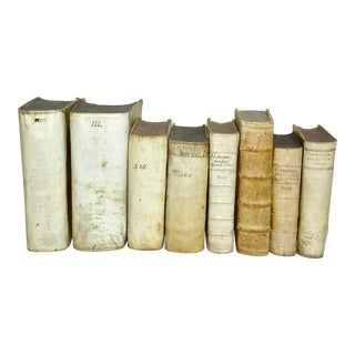 Mid 18th Century Antique Vellum Books Collection - Set of 8 For Sale