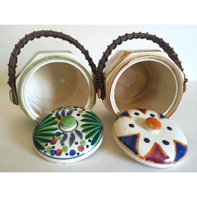 Rare Vintage 1930's Art Deco Japan Hand Painted Porcelain Handled Ceramic Biscuit Barrel Jars - Set of 2 For Sale - Image 11 of 13