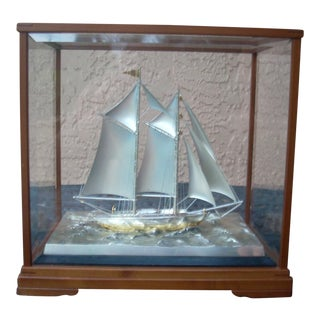 Glass Cased Silver Sailboat Model
