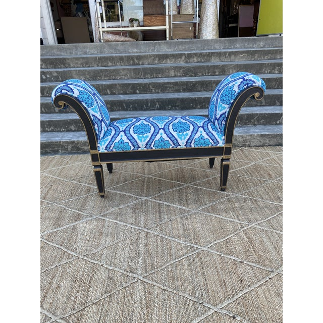 Italianate Scrolled Arm Custom Designer Bench For Sale - Image 4 of 12