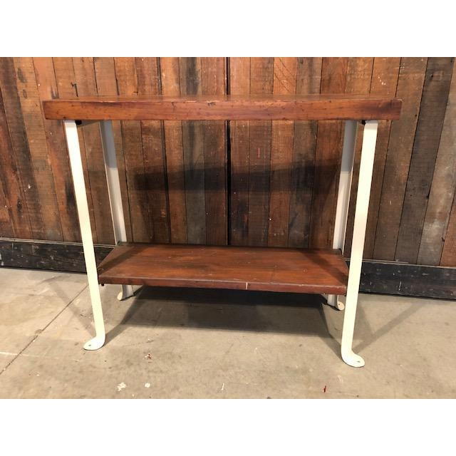 Brown Cottage Style Reclaimed Wood and Metal Sofa Table For Sale - Image 8 of 8