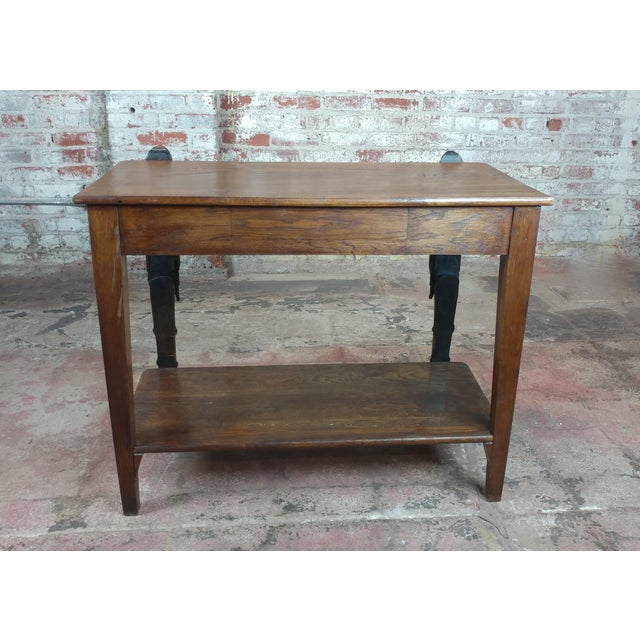 Antique Side table w/two carved Nude Female Figures For Sale - Image 9 of 12