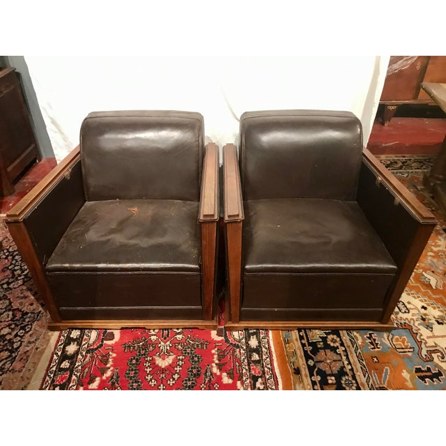 French Art Deco Leather Train Sleeper Club Chairs For Sale - Image 12 of 12