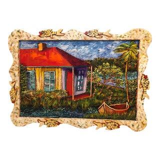 """2006 """"Joe's Fishing Shack"""" Folk Art Style Painting, Framed For Sale"""
