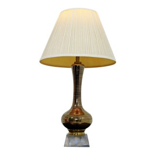 Mid Century Modern Glass & Brass Table Lamp W Original Shade & Finial For Sale