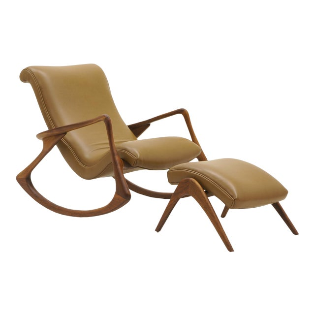 Vladimir Kagan Contour Rocker with Ottoman, Holly Hunt Leather, Excellent - Image 1 of 11