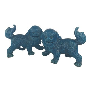 Chinese Blue Glazed Porcelain Food Dogs Pair For Sale