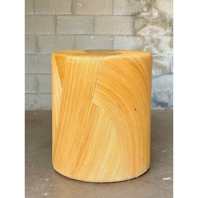 Vintage Coastal Pencil Reed Dining Table Pedestal For Sale In West Palm - Image 6 of 8