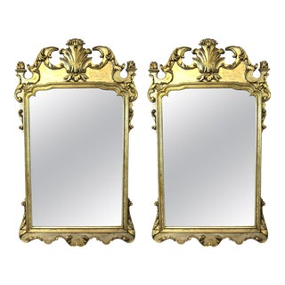 Hollywood Regency Italian Chippendale Style Wall Mirrors - a Pair For Sale