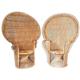 Large Rattan Peacock Chairs - A Pair