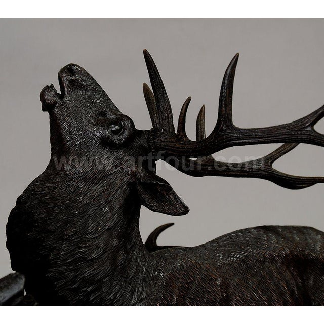 Wood Grandiose Carved Wood Fighting Stags By Rudolph Heissl For Sale - Image 7 of 9