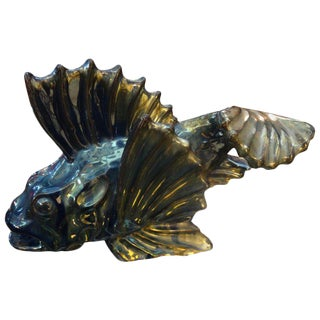 1920s Vintage French Glazed Terra Cotta Fish Sculpture For Sale