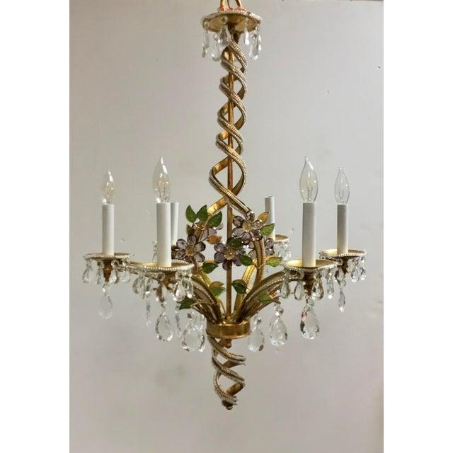 Metal Myran Allen Luxury Lighting Traditional Italian Iron and Crystal Chandelier For Sale - Image 7 of 7