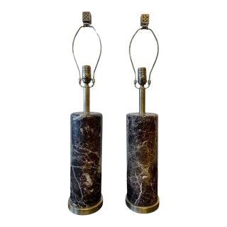 Deco Pair of Brass Base Marble Cylindrical Form Table Lamps With Finials For Sale