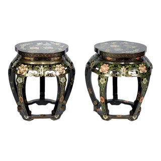 Vintage Black Lacquer Floral Asian Ruyi Stools With Blue Birds and Flowers - a Pair (Chinese) For Sale