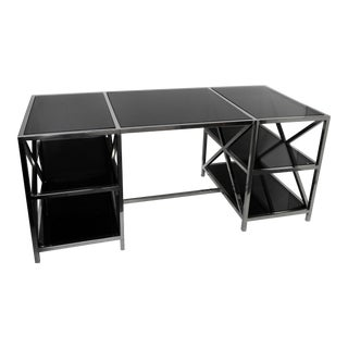 Modern Industrial Style Glass Top Desk