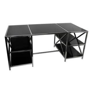 Modern Industrial Style Glass Top Desk