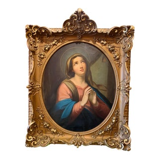 Late 18th/E. 19th Century Oil on Canvas Portrait Painting in Rich Giltwood Frame For Sale