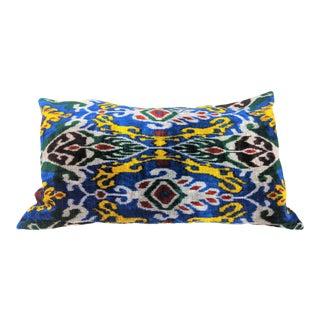 Contemporary Uzbeki Velvet Ikat Pillow Cover For Sale