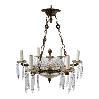 1920s Spanish Style Bronze Chandelier With Crystal Drops For Sale