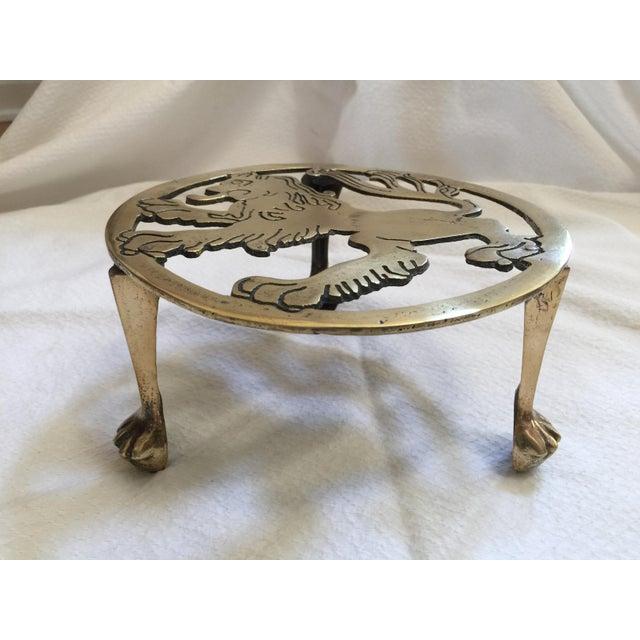 English Brass Lion Trivet For Sale - Image 5 of 7