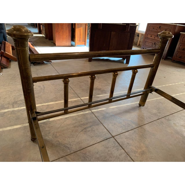 Early 20th Century Brass Low Full Post Bedframe For Sale - Image 4 of 12