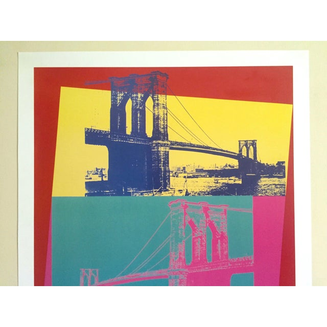 """This Andy Warhol Foundation vintage out of print offset lithograph print Pop Art poster """" Brooklyn Bridge """" 1983 is a very..."""
