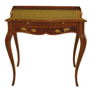Traditional Maitland Smith Leather Top Mahogany Writing Desk For Sale