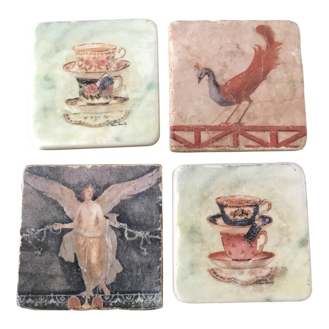 Pictorial Ceramic Coasters - Set of 4 - Image 1 of 6