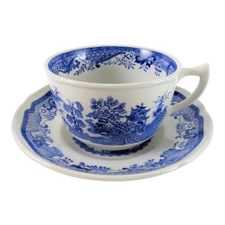 Mason's Willow Blue Transfer Ware Cup and Saucer For Sale